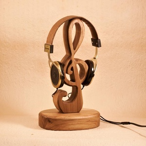 Fejhallgató állvány, violin kulcs, fülhallgató tartó, Otthon & Lakás, Tárolás & Rendszerezés, Íróasztali tároló, Famegmunkálás, Meska