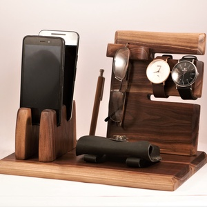 2 Mobil-, szemüveg-, óra-, toll tartó, asztali rendező, Otthon & Lakás, Tárolás & Rendszerezés, Íróasztali tároló, Famegmunkálás, Feketediófából /amerikai dió/ készült tároló. 2 telefon, szemüveg, 2 óra, 3 toll, stb.\nMérete: szél...., Meska