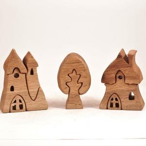 Fa templom, házikó, fa építő, kirakó, Játék & Gyerek, Építőjáték, Famegmunkálás, Meska