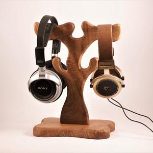 Fejhallgató tartó, állvány, dupla, Otthon & Lakás, Tárolás & Rendszerezés, Íróasztali tároló, Famegmunkálás, Meska