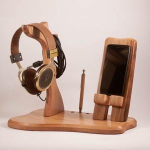 Fejhallgató, és mobiltelefon tartó, asztali rendező - otthon & lakás - tárolás & rendszerezés - íróasztali tároló - Meska.hu