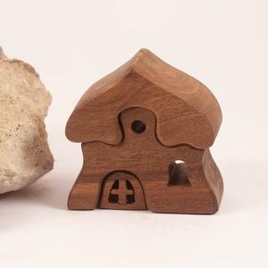 Fa házikó, fa építő, kirakó - Meska.hu