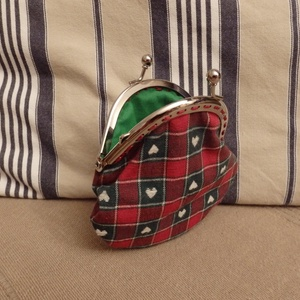 piros-zöld kockás kicsi tárca fémkerettel (HollyH) - Meska.hu
