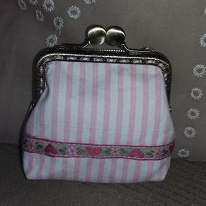 rózsaszín-fehér csíkos szögletes tárca fémkerettel (HollyH) - Meska.hu