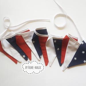 Zászlófüzér, bunting, girland - Amerika, USA, Otthon & Lakás, Függődísz, Dekoráció, Pamut anyagból készült zászlófüzér az Egyesült Amerikai Államok zászlójának színeiből.  Hossz: 2,5 m..., Meska