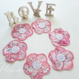 Rózsaszín virág poháralátét, edényalátét, Otthon & lakás, Dekoráció, Lakberendezés, Lakástextil, Terítő, Asztaldísz, Újrahasznosított alapanyagból készült termékek, Varrás, Egymással harmonizáló rózsaszínes anyagokat  használtam ezeknek a daraboknak az elkészítéséhez. Tets..., Meska