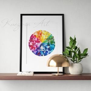 Szivárvány drágakő - A4-es nyomat eredeti akvarell alapján, Otthon & lakás, Dekoráció, Kép, Képzőművészet, Illusztráció, Lakberendezés, Falikép, Festészet, Fotó, grafika, rajz, illusztráció, Szivárvány drágakő - A4-es nyomat eredeti akvarell festményem alapján.\nA nyomat 200 gr-os művész pap..., Meska