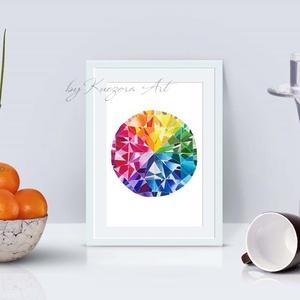 Szivárvány drágakő - A5-ös nyomat eredeti akvarell alapján, Otthon & lakás, Dekoráció, Kép, Képzőművészet, Illusztráció, Lakberendezés, Falikép, Festészet, Fotó, grafika, rajz, illusztráció, Szivárvány drágakő - A5-ös nyomat eredeti akvarell festményem alapján.\nA nyomat 200 gr-os művész pap..., Meska