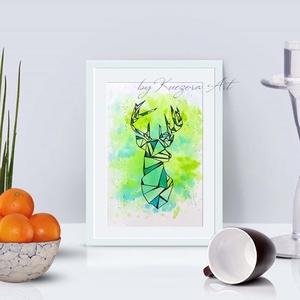 Szarvas kék-zöld háttérrel - A5-ös nyomat eredeti akvarell festményem alapján, Otthon & lakás, Dekoráció, Kép, Képzőművészet, Illusztráció, Lakberendezés, Falikép, Festészet, Fotó, grafika, rajz, illusztráció, Szarvas kék-zöld háttérrel - A5-ös nyomat eredeti akvarell festményem alapján.\nTermészetet kedvelőkn..., Meska