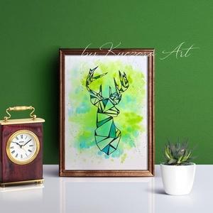 Szarvas kék-zöld háttérrel - A4-es nyomat eredeti akvarell festményem alapján, Otthon & lakás, Dekoráció, Kép, Képzőművészet, Illusztráció, Lakberendezés, Falikép, Festészet, Fotó, grafika, rajz, illusztráció, Szarvas kék-zöld háttérrel - A4-es nyomat eredeti akvarell festményem alapján.\nTermészetet kedvelőkn..., Meska
