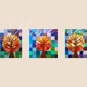 Színes fa - festmény szett, Művészet, Akril, Festmény, Színes fa - 3 db-os festmény szett. Én gyermekszobába képzeltem el, mintha a középső kisebb fa szimb..., Meska