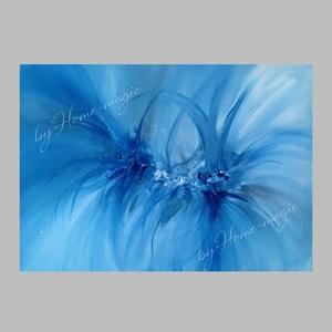 Kék-fehér-szürke absztrakt festmény , Művészet, Akril, Festmény, Kedvencem festési technikámmal készült absztrakt festmény. Kék, szürke és fehér színek uralják.  Ala..., Meska