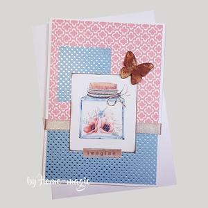 Kézzel készült képeslap, üdvözlőlap, ajándékkísérő - borítékkal , Otthon & Lakás, Papír írószer, Ajándékkísérő, Papírművészet, Kézzel készült képeslap, üdvözlőlap, ajándékkísérő \nHozzá illő borítékkal együtt küldöm, celofán cso..., Meska