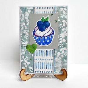 Kézzel készült képeslap, üdvözlőlap, ajándékkísérő - borítékkal muffin, gyümölcs, Otthon & Lakás, Papír írószer, Képeslap & Levélpapír, Papírművészet, Meska