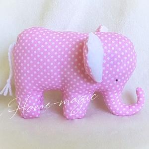 Textil játék, plüss - elefánt, rózsaszín pöttyös, pamutból, Játék & Gyerek, Plüssállat & Játékfigura, Elefánt, Varrás, Baba-és bábkészítés, Rózsaszín pöttyös, 100% pamut anyagból készült textiljáték, textil elefánt.\n\nBájos kiegészítője lehe..., Meska