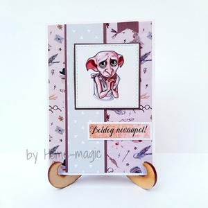 Kézzel készült képeslap, üdvözlőlap, ajándékkísérő - Harry Potter, névnapra, Dobby, Otthon & Lakás, Papír írószer, Képeslap & Levélpapír, Papírművészet, Kézzel készült képeslap, üdvözlőlap, ajándékkísérő magas minőségű papírból.\nHozzá illő borítékkal eg..., Meska