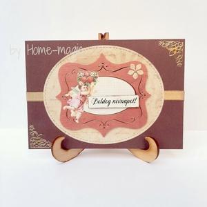 Kézzel készült képeslap, üdvözlőlap, ajándékkísérő - névnapra, Otthon & Lakás, Papír írószer, Képeslap & Levélpapír, Papírművészet, Kézzel készült képeslap, üdvözlőlap, ajándékkísérő magas minőségű papírból.\nHozzá illő borítékkal eg..., Meska