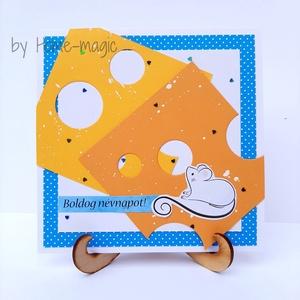 Kézzel készült képeslap, üdvözlőlap, ajándékkísérő - névnapra, sajt, egér, egérke, Otthon & Lakás, Papír írószer, Képeslap & Levélpapír, Papírművészet, Kézzel készült képeslap, üdvözlőlap, ajándékkísérő magas minőségű papírból.\nHozzá illő borítékkal eg..., Meska