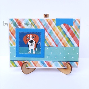 Kézzel készült képeslap, üdvözlőlap, ajándékkísérő - borítékkal Beagle kutyus - születésnapra, névnapra, pénzátadó, Otthon & Lakás, Papír írószer, Képeslap & Levélpapír, Papírművészet, Kézzel készült képeslap, üdvözlőlap, ajándékkísérő - Beagle kutyus \n- születésnapra, \n- névnapra, \n-..., Meska