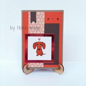 Kézzel készült képeslap, üdvözlőlap, ajándékkísérő - borítékkal, tacskó kutyus - születésnapra, névnapra, pénzátadó, Otthon & Lakás, Papír írószer, Képeslap & Levélpapír, Papírművészet, Kézzel készült képeslap, üdvözlőlap, ajándékkísérő - tacskó kutyus \n- születésnapra, \n- névnapra, \n-..., Meska