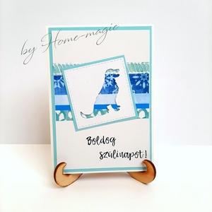Kézzel készült képeslap, üdvözlőlap, ajándékkísérő - borítékkal /Golden Retriever/ - születésnapra, névnapra, pénzátadó, Otthon & Lakás, Papír írószer, Képeslap & Levélpapír, Papírművészet, Meska