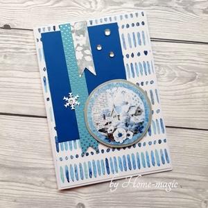 Kézzel készült képeslap, üdvözlőlap, ajándékkísérő - borítékkal, karácsony, tél, hó, hóesés, téli táj, Karácsony, Karácsonyi ajándékozás, Karácsonyi képeslap, üdvözlőlap, ajándékkísérő, Papírművészet, Meska