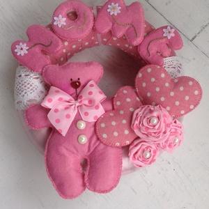Maci rózsaszínben-AJTÓDÍSZ, Otthon & lakás, Dekoráció, Lakberendezés, Ajtódísz, kopogtató,   HOME-felirattal csodaszép dísze lehet ajtónak, ablaknak....bárhol falnak...vagy ahova el tudod kép..., Meska