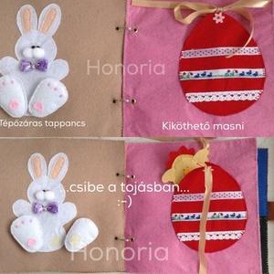 Nyuszis-csibés, foglalkoztató könyv,csendeskönyv, textil könyv,  (Honoria) - Meska.hu