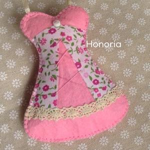 Rózsaszín fűző-, levendulával töltött  ( 11 cm) (Honoria) - Meska.hu