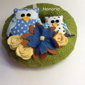 Baglyos , filc virágos(kék) -AJTÓDÍSZ (Honoria) - Meska.hu