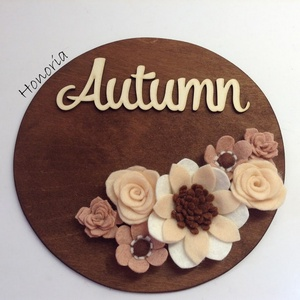Ősz/ Autumn-AJTÓDÍSZ-filcvirágokkal, Otthon & lakás, Dekoráció, Lakberendezés, Ajtódísz, kopogtató, Csodaszép gyapjúfilc virágokkal díszített ajtódísz.  A virágok kézzel készültek, saját tervek alapjá..., Meska