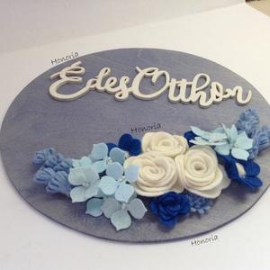 Kék álom, hortenziákkal....- ajtó/fali dísz - otthon & lakás - dekoráció - ajtódísz & kopogtató - Meska.hu