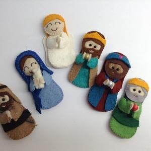 Betlehem ujj-báb csomag, dobozban, Karácsony, Gyerek & játék, Karácsonyi dekoráció, Játék, Báb, A karácsonyi történet , Bibliai szereplői. Mária kezében a kis Jézussal, József, az Angyal, és a hár..., Meska