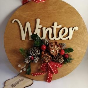 Winter-AJTÓDÍSZ-termésekkel, Karácsony, Karácsonyi lakásdekoráció, Karácsonyi ajtódíszek, Virágkötés, Meska
