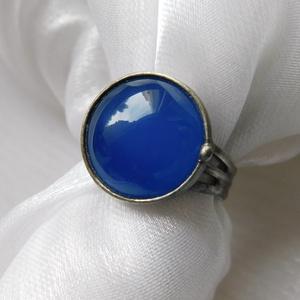 Achát gyűrű, Szoliter gyűrű, Gyűrű, Ékszer, Ékszerkészítés, Fémmegmunkálás, Saját tervezésű egyedi kézműves alkotás.\n\nA gyűrű Tiffany technikával készült achát, réz és ólomment..., Meska