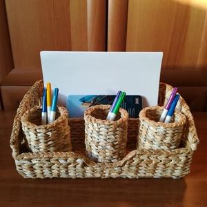 Asztali rendszerező ceruzatartókkal, papírfonás, natúr színben , Otthon & lakás, Lakberendezés, Asztaldísz, Tárolóeszköz, Doboz, Papírművészet, Papírfonás technikával, natúr színek összeválogatásával készítettem ezt az asztali rendszerezőt 3 da..., Meska