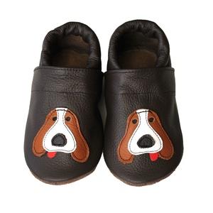 Hopphopp puhatalpú cipő - Kutyusos / Sötétbarna, Gyerek & játék, Táska, Divat & Szépség, Gyerekruha, Ruha, divat, Baba (0-1év), Varrás, A cipők természetes, puha, minőségi bőrből készülnek, melyek ideálisak a járni tanuló babáknak, vagy..., Meska