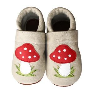 Hopphopp puhatalpú cipő - Gombás / Beige, Babacipő, Babaruha & Gyerekruha, Ruha & Divat, Varrás, A cipők természetes, puha, minőségi bőrből készülnek, melyek ideálisak a járni tanuló babáknak, vagy..., Meska