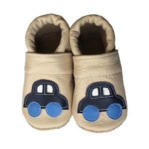 Hopphopp puhatalpú cipő - Autós/Beige, Táska, Divat & Szépség, Gyerekruha, Ruha, divat, Cipő, papucs, Varrás, A cipők természetes, puha, minőségi bőrből készülnek, melyek ideálisak a járni tanuló babáknak, vagy..., Meska