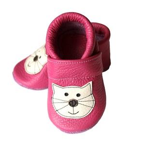 Bőr puhatalpú babacipő - Pink Cicás (Hopphopp) - Meska.hu