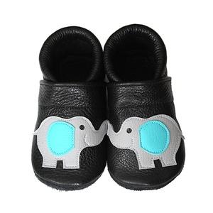 Hopphopp puhatalpú cipő - Elefántos, Babacipő, Babaruha & Gyerekruha, Ruha & Divat, Varrás, A cipők természetes, puha, minőségi bőrből készülnek, melyek ideálisak a járni tanuló babáknak, vagy..., Meska