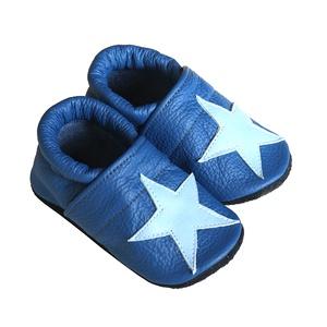 Bőr puhatalpú babacipő - Csillagos/Kék (Hopphopp) - Meska.hu