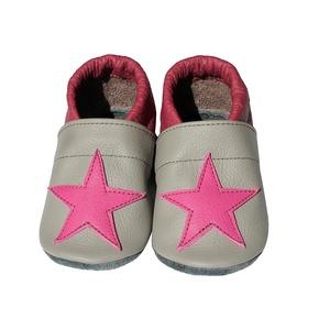 Hopphopp puhatalpú cipő - Csillagos - Szürke/Bordó, Táska, Divat & Szépség, Cipő, papucs, Ruha, divat, Gyerekruha, Varrás, Bőrművesség, A cipők természetes, puha, minőségi bőrből készülnek, melyek ideálisak a járni tanuló babáknak, vagy..., Meska