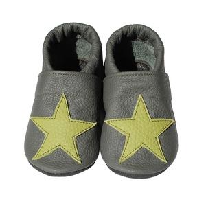 Hopphopp puhatalpú cipő - Csillagos - Sötétszürke/Zöld csillagos (Hopphopp) - Meska.hu