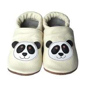 Hopphopp puhatalpú cipő - Panda/Bézs, Gyerek & játék, Táska, Divat & Szépség, Cipő, papucs, Varrás, A cipők természetes, puha, minőségi bőrből készülnek, melyek ideálisak a járni tanuló babáknak, vag..., Meska