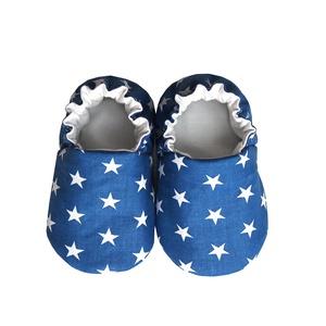 Kék fehér csillagos kocsicipő , Babacipő, Babaruha & Gyerekruha, Ruha & Divat, Varrás, 16-19-es méretben rendelhetők a cipőcskék, kívül-belül pamutból készülnek, illetve a két réteg közé ..., Meska