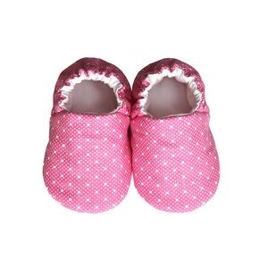 Rózsaszín/Fehér pöttyös kocsicipő, Gyerek & játék, Táska, Divat & Szépség, Cipő, papucs, Varrás, 16-19-es méretben rendelhetők a cipőcskék, kívül-belül pamutból készülnek, illetve a két réteg közé ..., Meska