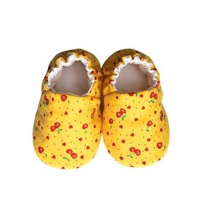 Sárga/Cseresznyés kocsicipő, Gyerek & játék, Táska, Divat & Szépség, Cipő, papucs, Varrás, 16-19-es méretben rendelhetők a cipőcskék, kívül-belül pamutból készülnek, illetve a két réteg közé ..., Meska
