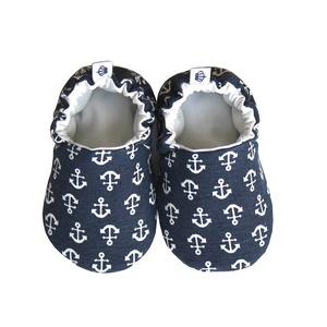Horgonyos kocsicipő, Babacipő, Babaruha & Gyerekruha, Ruha & Divat, Varrás, 16-19-es méretben rendelhetők a cipőcskék, kívül-belül pamutból készülnek, illetve a két réteg közé ..., Meska