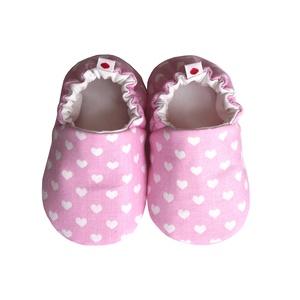 Szívecskés - Hordozós pamutcipő, Gyerek & játék, Táska, Divat & Szépség, Cipő, papucs, Varrás, 16-19-es méretben rendelhetők a cipőcskék, kívül-belül pamutból készülnek, illetve a két réteg közé ..., Meska